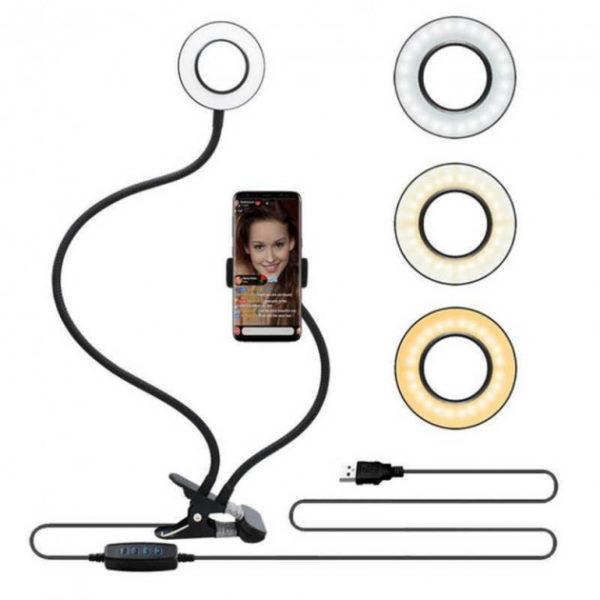Гибкий штатив-держатель с подсветкой для блогера 2 в 1 Professional Live Stream