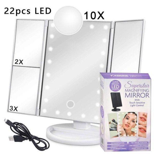 Зеркало для макияжа с LED-подсветкой тройное